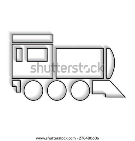 Locomotive icon . Vector illustration  with shadow - stock vector