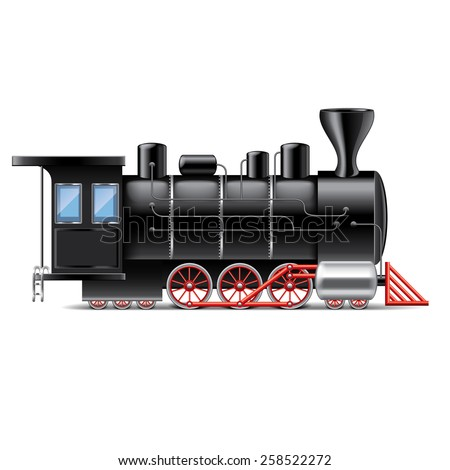 Locomotive isolated on white photo-realistic vector illustration - stock vector