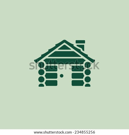 Log cabin camping home graphic icon logo - stock vector