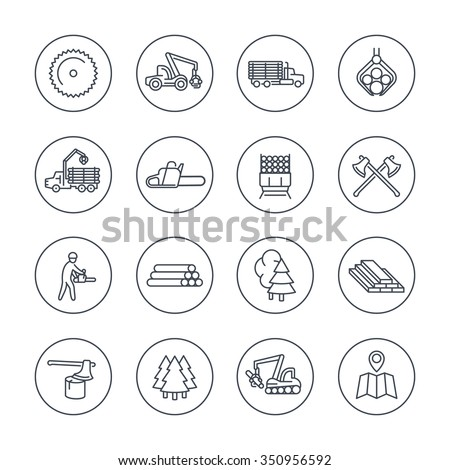 Logging, sawmill line icons in circles, logging truck, tree harvester, timber, lumberjack, wood, lumber, vector illustration