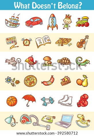 Logic game of finding an unsuitable item in the series - stock vector