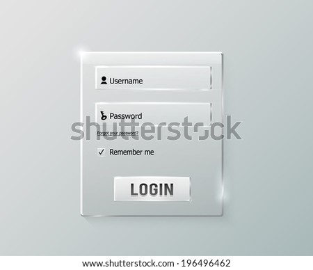 Login and register web glossy form. Modern glossy web card login form - stock vector