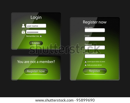 Login and register web screens, green version-vector