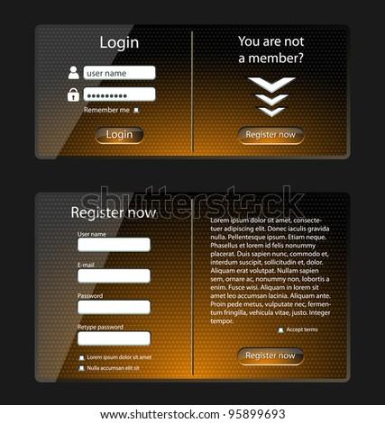 Login and register web screens, orange version-vector - stock vector