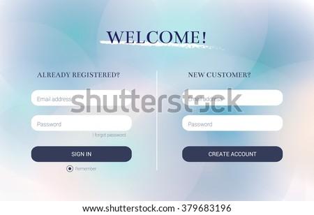 Login and Registration form, strict clean style, flat design. UI elements for your web design: promotional website, business card site, online store, online catalog, blog. Eps10 vector illustration. - stock vector
