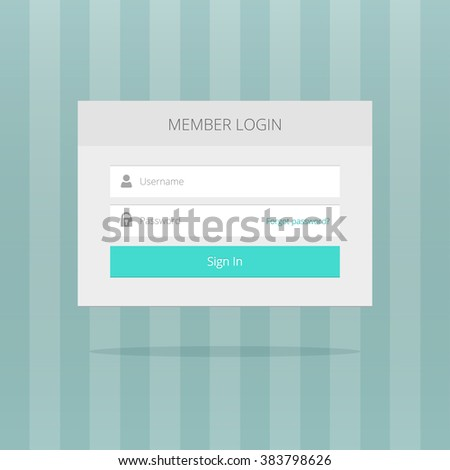 Login box, login form, login ui interface elements, login screen, sign in blue button, log in icons, simple login button flat modern window vector design on grey striped background - stock vector