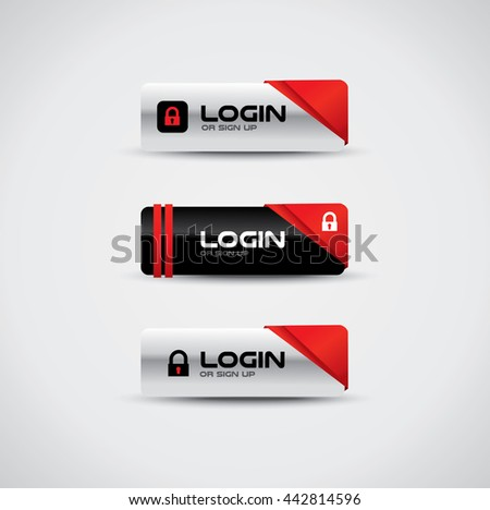 Login buttons with lock icon and high contrast colors - stock vector