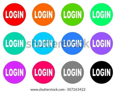 login flat design modern vector circle icons colorful set for web and mobile app isolated on white background - stock vector