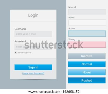 Login form modal window - stock vector