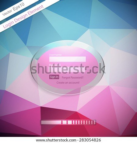 Login form on a triangular geometric modern background. Vector illustration. Eps10 - stock vector