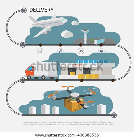 Logistic and delivery concept infographic.  Vector illustration. - stock vector