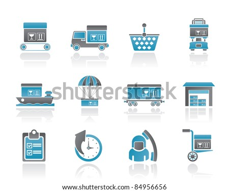 Logistic, cargo and shipping icons - vector icon set - stock vector