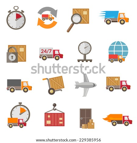 Logistic chain shipping freight service supply delivery icons set isolated vector illustration - stock vector