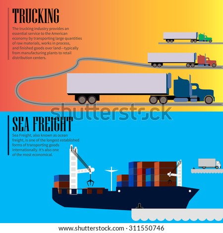 Logistic concept flat banners sea freight, trucking services abstract isolated vector illustration - stock vector - stock vector