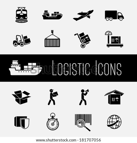 Logistic global supply chain icons set of transportation shipping and delivery isolated vector illustration