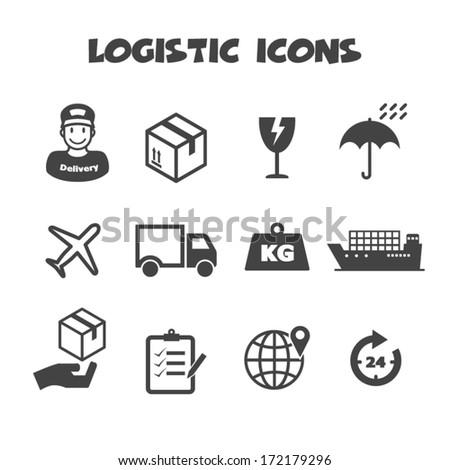logistic icons, mono vector symbols - stock vector