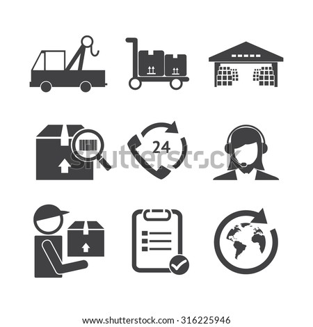 Logistic icons set. - stock vector