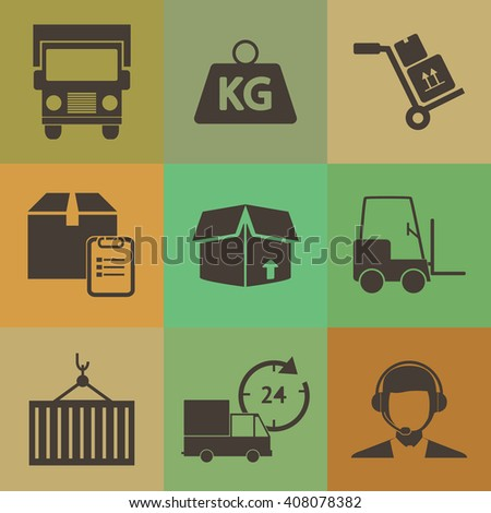Logistic icons set. retro color style. - stock vector
