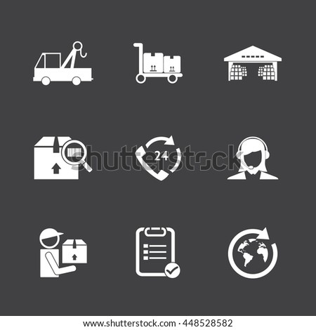 Logistic icons set. White icons on black background - stock vector