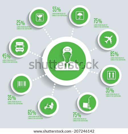Logistic info graphic design concept green version,clean vector - stock vector