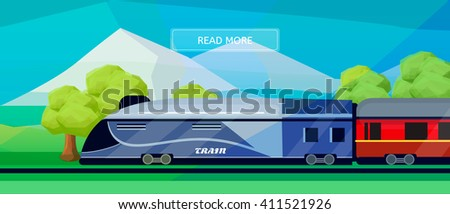 Logistic routes train banner. Logistics train banner for industry, web and print. Flat style vector illustration of a train with railway carriage.  - stock vector