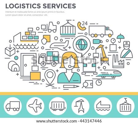 Logistic services concept illustration, thin line flat design - stock vector