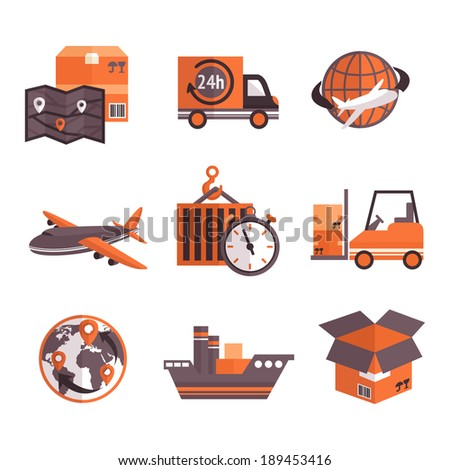Logistic shipping freight service supply delivery icons set isolated vector illustration