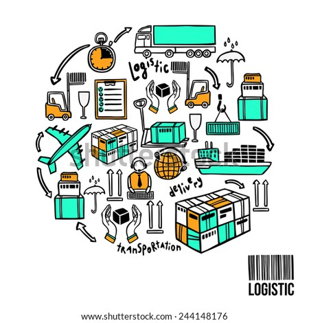 Logistic sketch concept with shipping icons and bar code vector illustration - stock vector