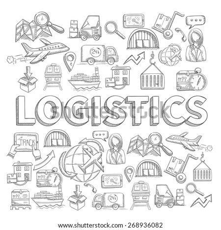 Logistic sketch concept with transportation and shipping commerce decorative icons set vector illustration - stock vector