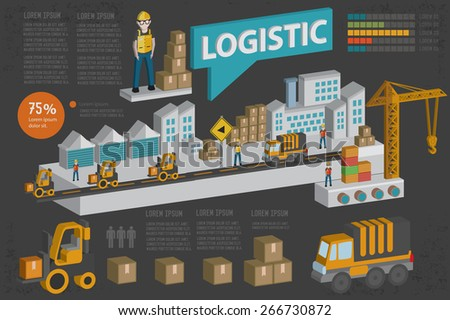 Logistic, transport and shipping design,three dimension,clean vector - stock vector