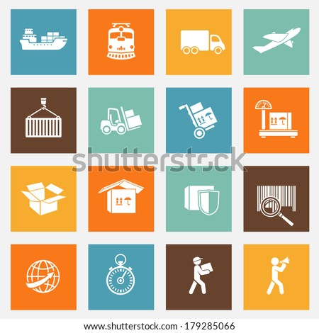 Logistic transportation services pictograms collection for web design isolated vector illustration - stock vector