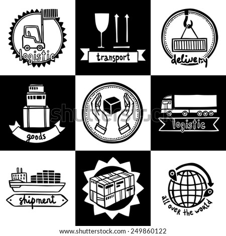 Logistic transportation shipment goods delivery emblems sketch set isolated vector illustration - stock vector