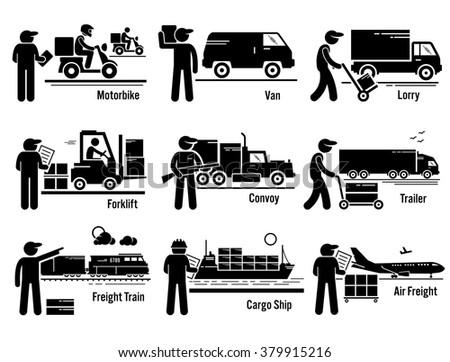 Logistic Transportation Vehicles Set - stock vector