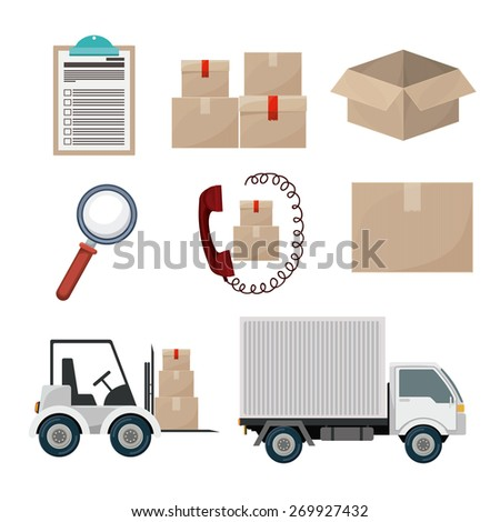Logistics and delivery design over white background, vector illustration - stock vector