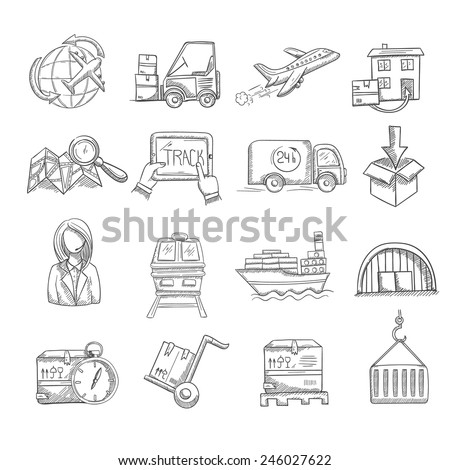 Logistics and delivery service business sketch decorative icons set isolated vector illustration - stock vector