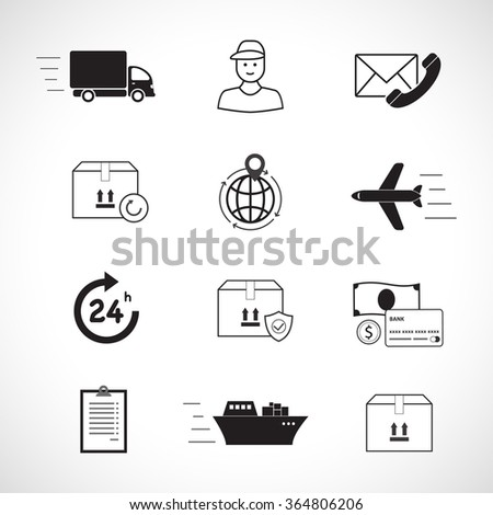 Logistics and delivery vector icons set: Delivery, Courier, Return, Worldwide, Insurance, cargo. Shipping, Transport, Order, Service, Parcel, Document, Contacts, Payment, All Day. - stock vector