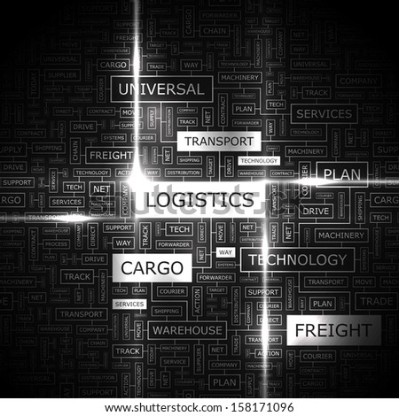 LOGISTICS. Background concept wordcloud illustration. Print concept word cloud. Graphic collage with related tags and terms. Vector illustration.  - stock vector