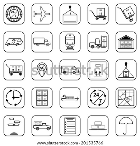 Logistics black contour vector web icons - stock vector