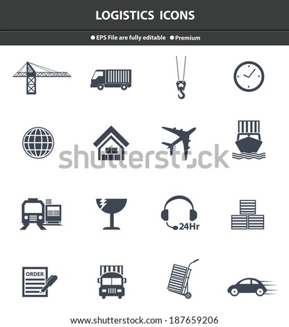 Logistics black icons,vector - stock vector