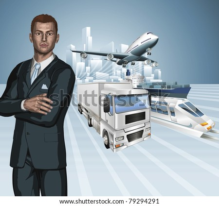 Logistics business concept background. Businessman, aeroplane truck, train, cargo ship and city. - stock vector
