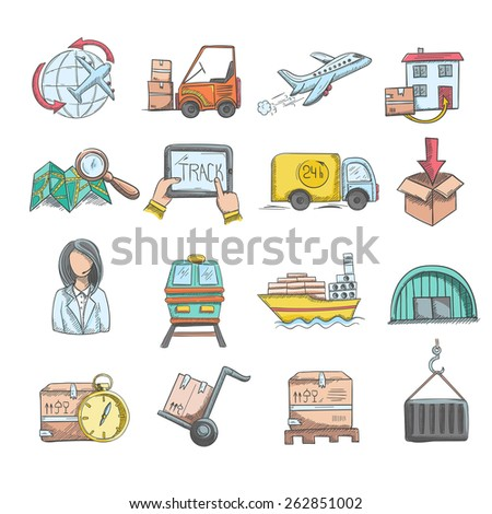 Logistics delivery service and transportation sketch decorative icons set isolated vector illustration - stock vector