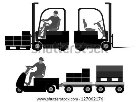 Logistics equipment. Graphic elements with operator, forklift, towing truck, boxes and pallets. - stock vector