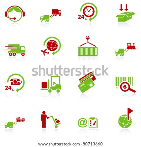 Logistics icons - green-red series - stock vector