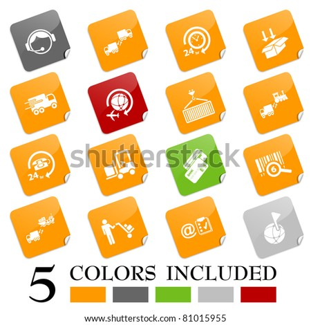 Logistics icons - sticky series - stock vector