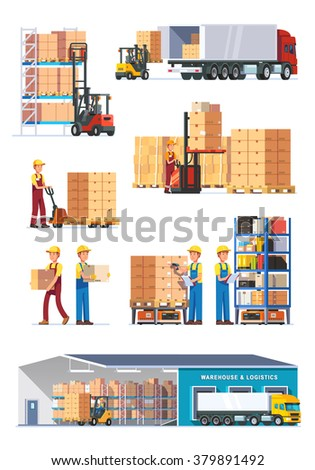 Logistics illustrations collection. Warehouse center, loading trucks, forklifts and workers. Modern flat style vector illustration isolated on white background. - stock vector