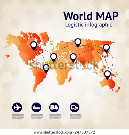Logistics infographic. Business banner. Abstract world map - stock vector