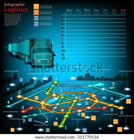 Logistics infographic with lines of delivery on city map. Topography symbols, timetable on week and other info - stock vector