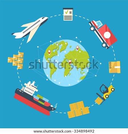Logistics infographics. Shipping and storage flat concept with sea air and land delivery route and equipment vector illustration. Flat planet concept for delivery around the world - stock vector