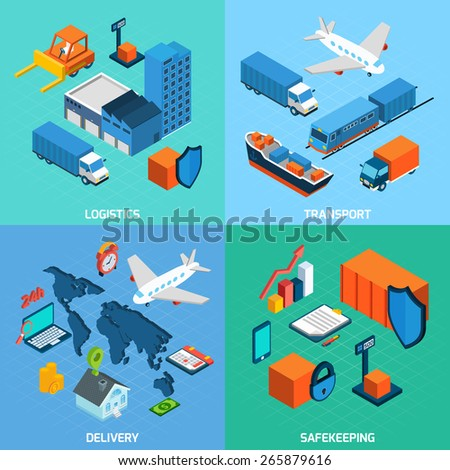 Logistics isometric set with transport safekeeping delivery 3d icons isolated vector illustration - stock vector