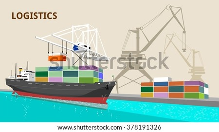 logistics port, ship, freight, warehouse, terminal, loading, unloading, truck, container ocean, sea, delivery truck lorry seaport - stock vector